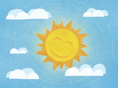 Sun illustration textured dribbble