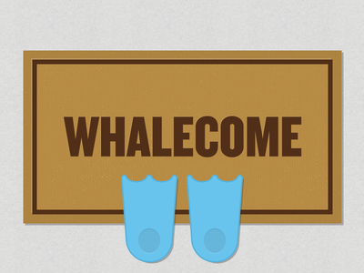 Whalecome Home whale welcome mat flippers