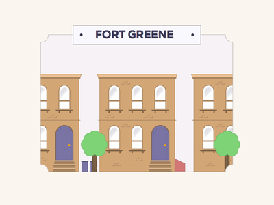Fort Greene nyc fort greene new york brooklyn city brownstone skyline badge