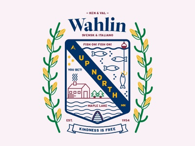 The Wahlin Family Crest badge