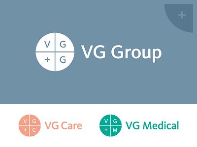 VG Group circle cross medicine symbol mark illustrator emblem logotype logo identity branding