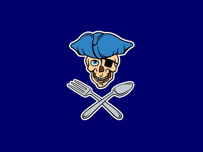 Pirates spoon fork skull graphic design symbol emblem mark logotype logo identity branding