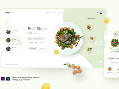 Foobu - Retaurant, Food Delivery Service Template uxdesign ux design user interface designer user interface ui user interface design user interface ui ux uiux uidesign ui design ux ui page modern mobile landing page interface creative banner app