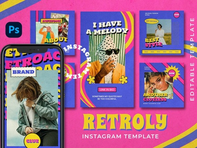 Retroly Instagram Posts & Stories instagram instagram template instagram stories instagram posts template social media social media template branding design instagram post instagram banner instagram templates instagram story template instagram post template stories story templates advertising color carousel