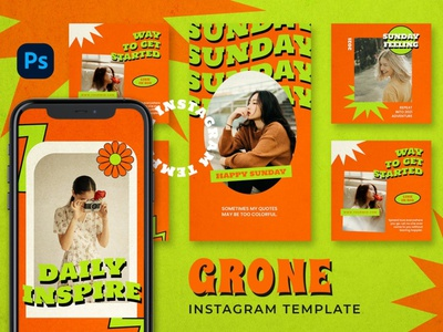 Grone Instagram Posts & Stories instagram instagram template instagram stories instagram posts template social media social media template branding design instagram post instagram banner instagram templates instagram story template instagram post template stories story templates advertising color carousel