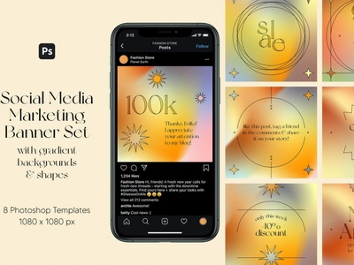 Gradients Social Media Marketing Banner Set social media template branding design instagram post instagram banner instagram templates instagram story template instagram post template stories story templates advertising color aesthetics aesthetic gradient logo gradient design gradient color gradients gradient