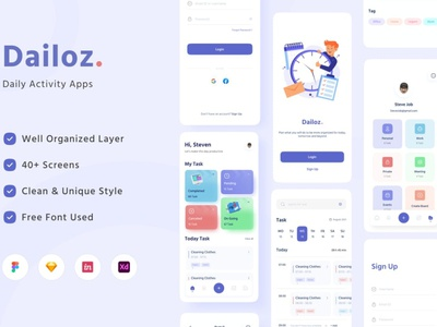 Dailoz - Daily Activity Mobile Apps UI Kit gradient blur gradient ui ux ui design ux design mobil app blur minimal simple 3d illustration 3d illustration clean chart progress bar card dashboard