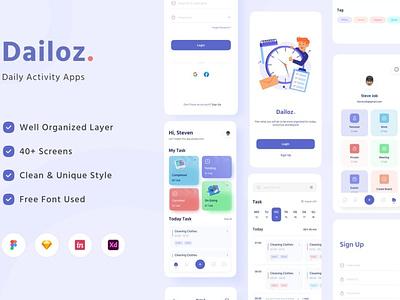 Dailoz - Daily Activity Mobile Apps UI Kit gradient blur gradient ui ux ui design ux design mobil app blur minimal simple 3d illustration 3d illustration clean chart progress bar card dashboard