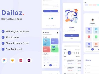 Dailoz - Daily Activity Mobile Apps UI Kit apps concept web development web design website user interface motion graphics graphic design 3d animation vector branding logo illustration design ui design ux design ux ui app