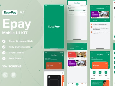 Easypay - Epay Mobile UI Kit apps user interface payment app payment pay easy vector branding motion graphics graphic design 3d animation logo illustration design ui design ux design ux ui app
