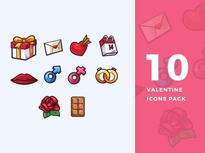 10 Valentine Icons Pack logo design illustration pink candy sweet flat valentines valentine 3d icons design 3d icon design 3d icons 3d icon 3d icons designs icon designs icons design icon design icons icon