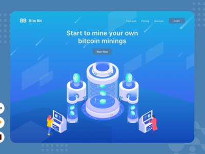 Start Your Own Bitcoin Mining - Website Header 3d conceptual concept page pages landing pages banners banner isometric landing page vector branding logo design illustration ui design ux design ux ui app