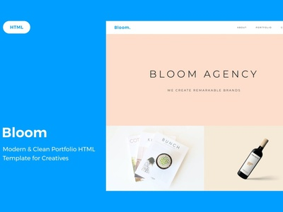 Bloom Portfolio HTML Template website ui design ux ux design ui app showcase product photographer photography portfolio simple minimal designer illustration freelancer elegant design clean agency