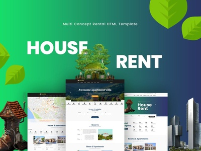 HouseRent logo graphic design website design ui design ux ux design ui app warehouse sublet rental office message rooms garage house rent factory apartament