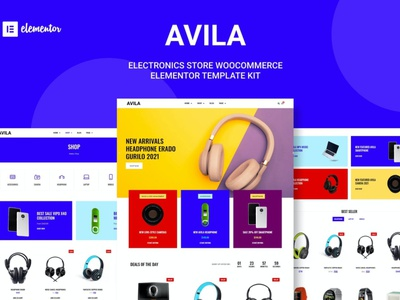 Avila - Electronic WooCommerce Elementor Template Kit ux ux design ui app colorful prof elementor woocmmerce watches technology sporty multipurpose laptop jewelry retail gadget store electronig digital computer accessories