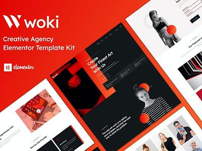 Woki - Creative Agency Elementor Template Kit personal modern minimal marketing digital dark creative corporate business agency branding logo illustration website design ui design ux ux design ui app