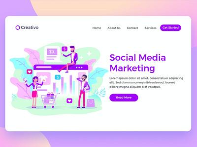 Social Media Marketing Team onepage agency creative corporate multipurpose web graphic design branding illustration website design ui design ux ux design ui app html team marketing social media