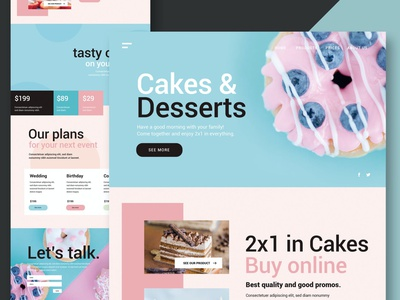 Cakes & Desserts - Website donation blog events clean full purpose onepage creative agency multipurpose illustration website design ui design ux ui ux design app html web