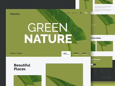Green Nature - Website shop one page purpose multipurpose nature green nature green landing page landing logo illustration website design ui design ux ux design ui app html web