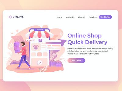 Online Shopping shop blog hosting builder html landing service fast delivery fast illustration website design ui design ux ux design ui app web shopping online shooping