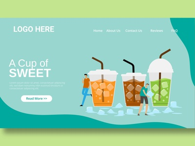 Ice Tea Drink - Landing Page branding illustration website design ui design ux ux design ui app web maintance web development multipurpose html web page landing landing page drink tea ice