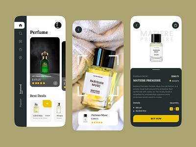 Perfume Product App ecommerce mobile scanning scan perfume app fragrance elegant typography uiux ui ux design app product perfume