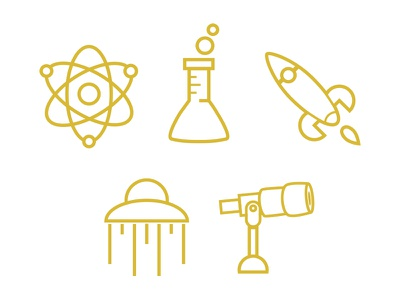 Space&Science icons lineart illustration