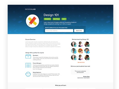 Course Page Redesign redesign visual design landing page