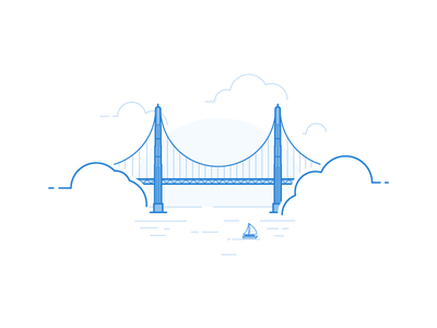 We're flying west illustration california sailboat sms bridge gate golden bird message messagebird francisco san