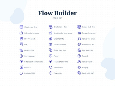 Flow Builder Icons perfect pixel grid dots builder flow icons set icon sms messagebird