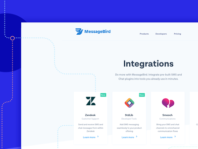 Integrations Page smooch zendesk communications sms bird message messagebird integrations