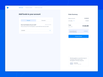Payment Flow ux top up balance order flow pay checkout payments payment ui amsterdam icons dashboard communications bird sms message messagebird
