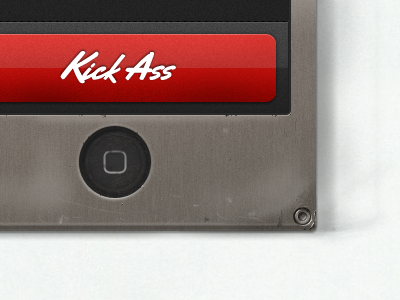 Kick Ass Button iphone website kick ass personal button red metal pixel frame
