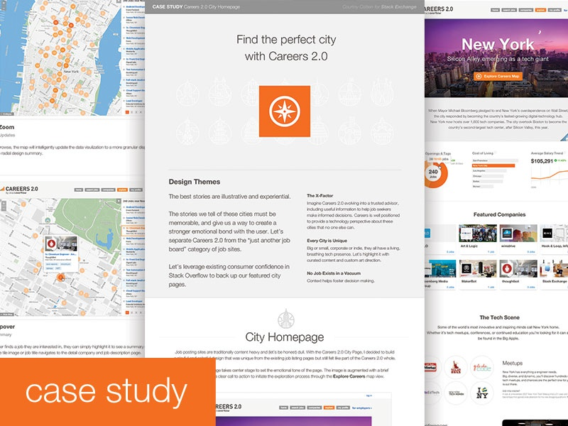 Careers Cities - Early Case Study case study case study map geography pins data density careers stack exchange stack exchange
