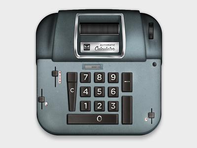 Victor Adding Machine calculator adding subtracting chrome buttons vintage retro old slider metal machine steel retina iphone ios icon