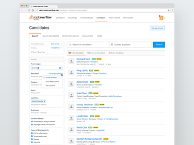 Talent Search controls tabs alerts query filters stack overflow search