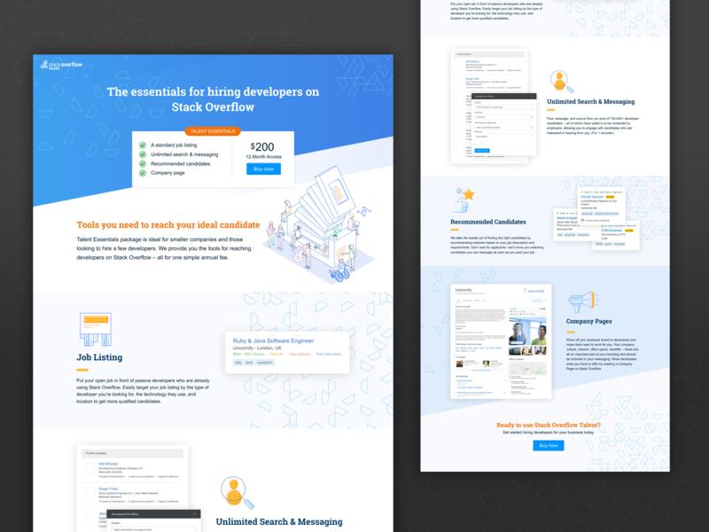 Talent Essentials Lander stack overflow design ui