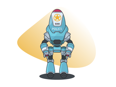 Protectron vector police fallout robot illustration graphic design