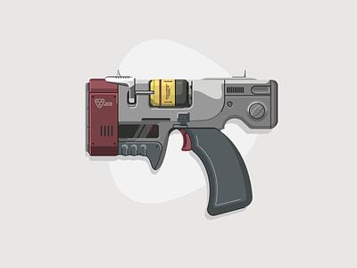 Institute Laser Pistol gun vector fusion laser pistol illustration graphic  design fallout
