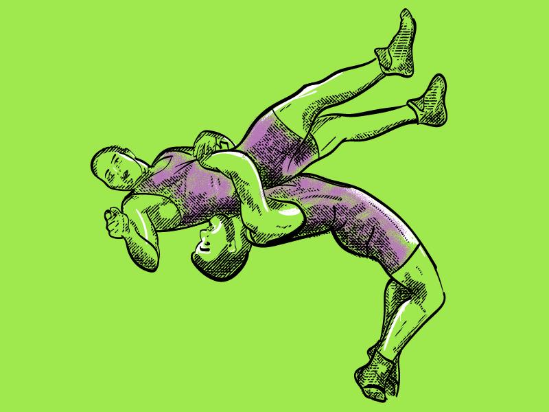 Super16 Wrestling hero illustration vector sport wrestling crosshatch hatching illustration