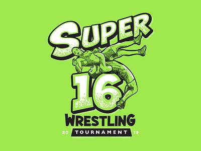 Super16 Wrestling Tourney comic print lockup illustration crosshatch tshirt design