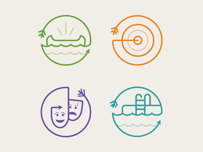 Camp Robin Hood Icons activities outdoors badge camp icons