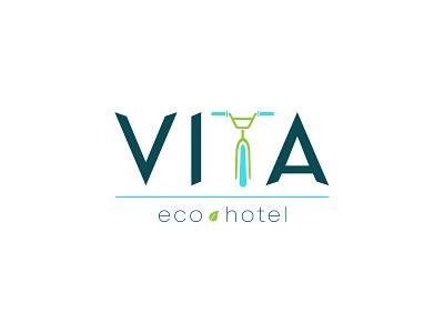 Vita Eco Hotel typography icon logo illustration design branding