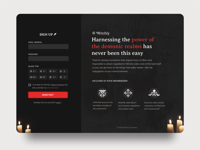 Witchly Sign Up - Daily UI 001 dailyui signup contract demon dark ui dark witch