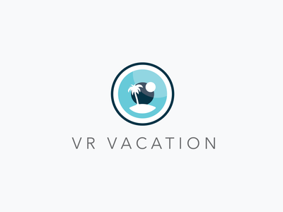 VR Vacation eye beach relaxation vacation graphic logo virtual reality