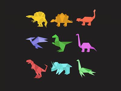 Origami Dinosaurs P2 interface ux ui vector flat dinosaurs origami