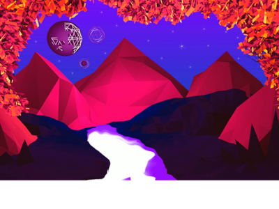 Another World blender world river sky mountains game poly low