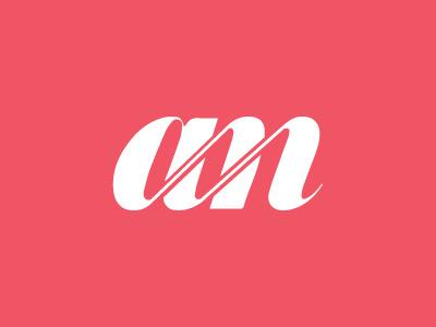 A M simple logo type serif negative space am m a letters