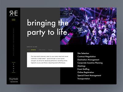 bringing the party to life vegas side menu web horizontal dark event planner ui  ux travel