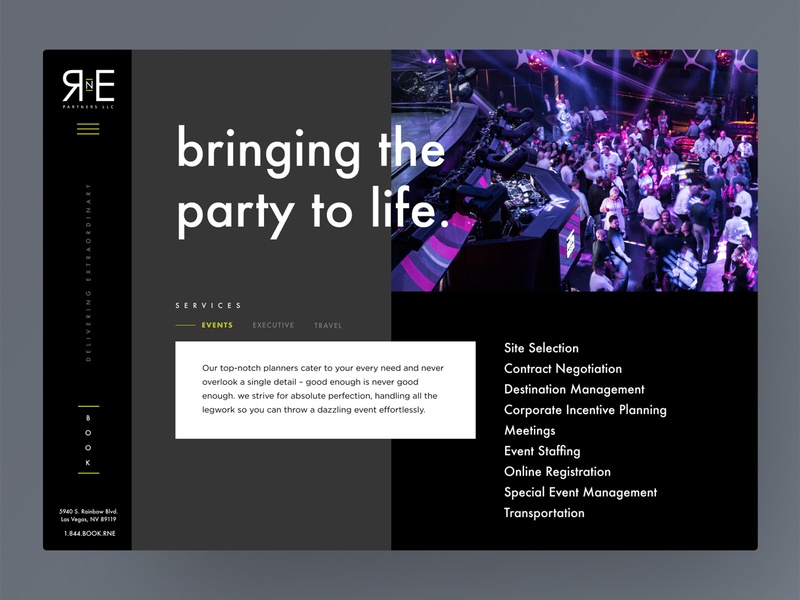 bringing the party to life vegas side menu web horizontal dark event planner ui  ux travel